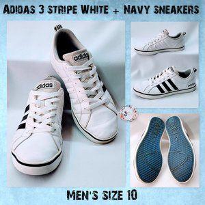 🦅Adidas Men's 3 stripe White + Navy sneakers 10